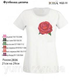 Детская футболка для вышивки бисером Роза