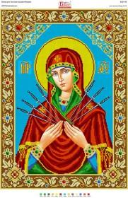 Рисунок на габардине для вышивки бисером Божья Матір Семістрельна