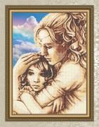 Схема для вышивки бисером на габардине Мама и дочь