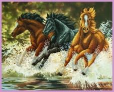 Набор для вышивки бисером Бегущие лошади Картины бисером Р-325
