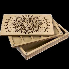 Органайзер для бисера многоярусный с деревянной крышкой FLZB-078