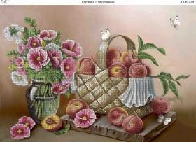 Схема для вышивки бисером на габардине Корзина с персиками