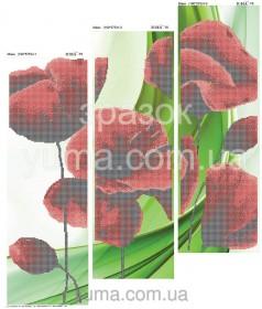 Схема вышивки бисером на атласе Маки (Триптих), , 180.00грн., ЮМА-Т-6, Юма, Картины из нескольких частей