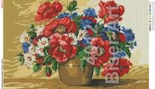 Схема вышивки бисером на габардине Маки Biser-Art 45х75-4012