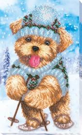 Набор для вышивания бисером на холсте Зимняя забава, , 386.00грн., АВ-559, Абрис Арт, Собака символ 2018 года своими руками