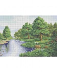 Схема для вышивки бисером на габардине Дубы у пруда Acorns А3-К-849 - 70.00грн.