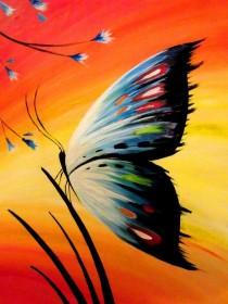 Набор для выкладки алмазной мозаикой Бабочка на закате