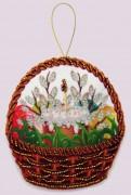 Набор для изготовления игрушки из фетра для вышивки бисером Празднчная корзинка