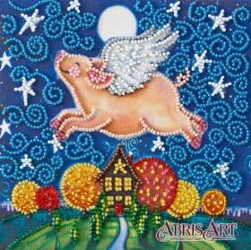 Набор-мини для вышивки бисером на натуральном художественном холсте Летающая свинка Абрис Арт AM-196 - 102.00грн.
