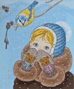 Набор для вышивки крестом Девочка и синичка