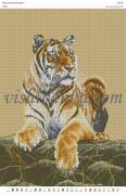 Рисунок на габардине для вышивки бисером Тигр