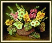 Схемы для вышивания бисером на авторской канве Корзина с цветами