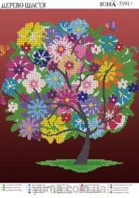 Схема вышивки бисером на атласе Дерево счастья, , 61.00грн., ЮМА-3191Г, Юма, Схемы и наборы для вышивки бисером по Фен шуй