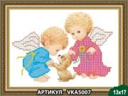 Рисунок на ткни для вышивки бисером Ангелочки с собачкой
