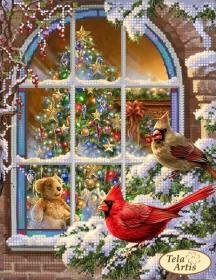 Схема вышивки бисером на атласе Рождественская атмосфера, , 55.00грн., ТМ-109, Tela Artis (Тэла Артис), Новый год