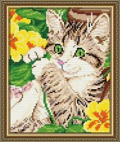 Набор для выкладки алмазной техникой Котенок в цветах, , 280.00грн., АТ5553, Art Solo, Алмазная мозаика