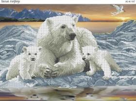 Схема для вышивки бисером на габардине Белые медведи