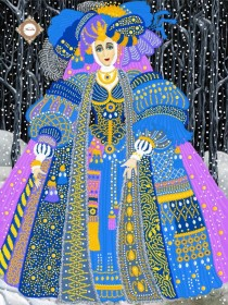 Схема вышивки бисером на атласе Рождественская чаровница