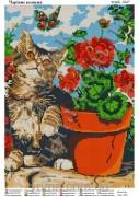 Схема вышивки бисером на атласе Волшебный котик