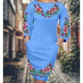 Заготовка для вышивки платья на голубом габардине Biser-Art 6009 голубой габардин - 480.00грн.