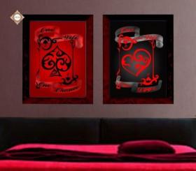 Схема для вышивки бисером на атласе Красное и черное Диптих, , 180.00грн., СЛТ-2213, Миледи, Картины из нескольких частей