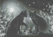Схема вишивкі бісером на габардині Місячна ніч
