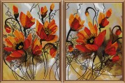 Схема для вышивки бисером на атласе Огненные цветы