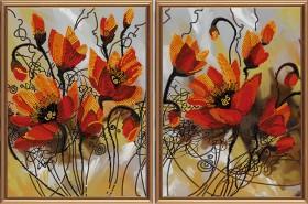 Схема для вышивки бисером на атласе Огненные цветы, , 163.00грн., В21008, Новая Слобода (Нова слобода), Картины из нескольких частей