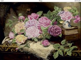 Схема для вышивки бисером на габардине Розы, , 70.00грн., А3-К-229, Acorns, Цветы