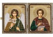 Набор для вышивки иконы бисером в рамке-складне Св. Вмч. Пантелеймон Целитель и Ангел Хранитель