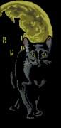 Схема вышивки бисером на габардине Місячний кіт