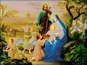 Схема вышивки бисером на габардине Свята Родина із ангелами