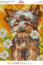 Схема вышивки бисером на габардине Собачка в ромашках, , 50.00грн., БА3-464, Вишиванка, Собака символ 2018 года своими руками