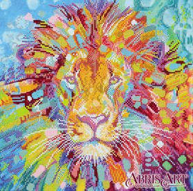 Схема для вышивки бисером на холсте Разноцветный лев