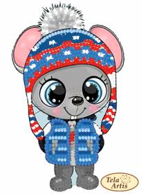 Схема для вышивки бисером на ВЕЛЮРЕ Мышь-малыш