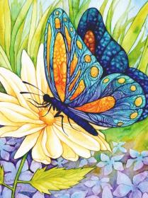 Набор для выкладки алмазной мозаикой Бабочка на цветке
