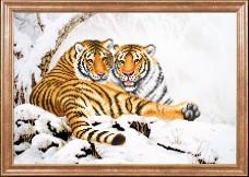 Схема вышивки бисером на габардине Тигры зимой Магия канвы КС-103 МК