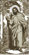 Схема вышивки бисером на габардине Ісус стукає в двері