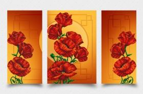 Схема для вышивки бисером на атласе Маковая фантазия (Триптих), , 399.00грн., АР2-003, А-строчка, Картины из нескольких частей