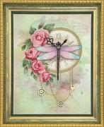 Набор для частичной вышивки крестом  Часы и розы