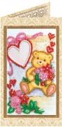 Набор - открытка для вышивки бисером Плюшевое счастье