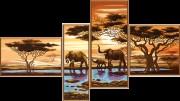 Схемы для вышивки бисером на атласе Африканские слоны