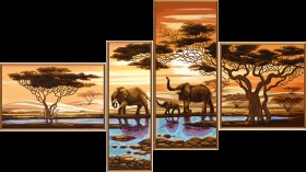Схемы для вышивки бисером на атласе Африканские слоны, , 221.00грн., В46512, Новая Слобода (Нова слобода), Картины из нескольких частей