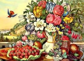 Набор для выкладки алмазной мозаикой Натюрморт фрукты и цветы DIAMONDMOSAIC DM-232 - 760.00грн.