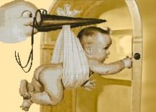 Схема вышивки бисером на габардине Лелека приніс дитину Biser-Art 40х60-3035