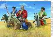 Схема вышивки бисером на атласе Три козака