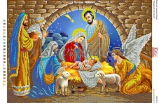 Схема для вышивки бисером на атласе Народження Ісуса Христа Вишиванка А2-078 атлас