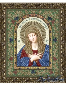 Схема для вышивки бисером на атласе Икона Пресвятой Богородицы Умиление