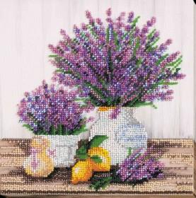 Набор-миди для вышивки бисером на натуральном художественном холсте Лаванды Аромат