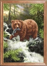 Схема вышивки бисером на габардине Медведь с рыбой